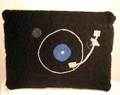 Black Felted Turntable Laptop Sleeve - fiberpuppy