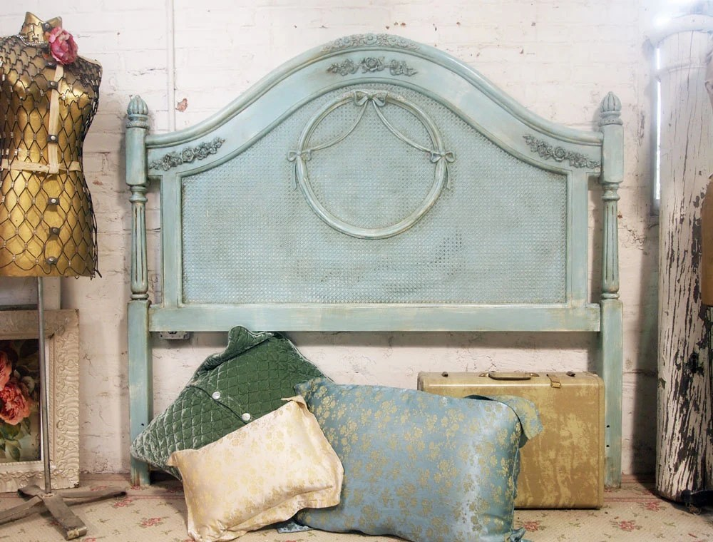 Painted Cottage Shabby Aqua Chic Queen Headboard BD202
