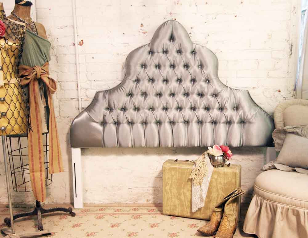 Vintage Painted Cottage Shabby Grey Tufted Headboard Full