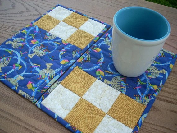 Gold and Blue for Hanukkah again mug rugs - FREE SHIPPING