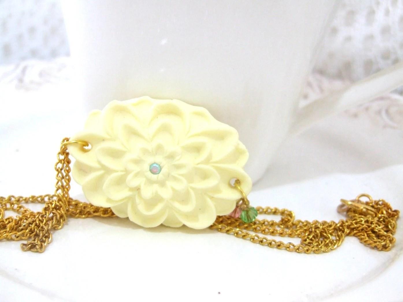 Necklace - vintage polymer clay golden cabochon necklace in cream - moriadesigns