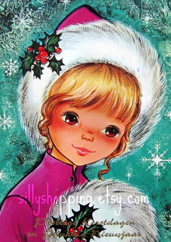 Vintage 70s Big Eyed Girl Christmascard
