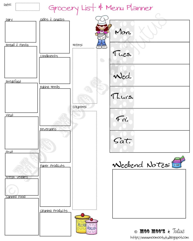 Diy Printable Grocery List And Menu Planner