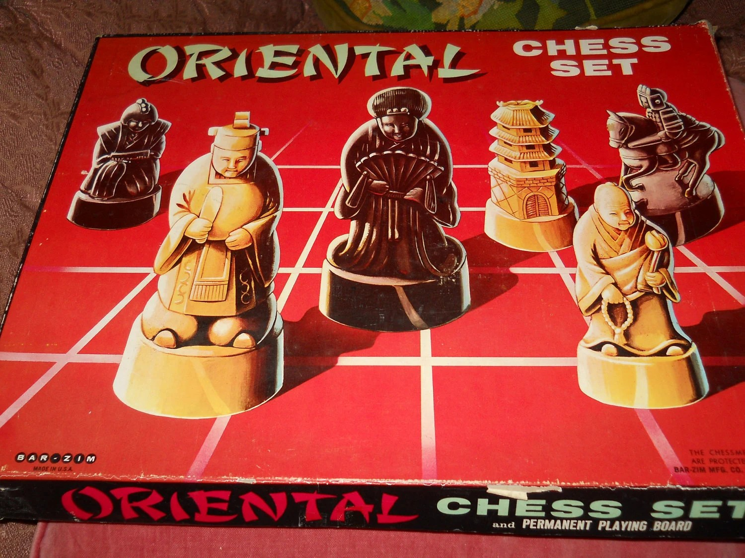 vintage ORIENTAL CHESS SET really cool pieces