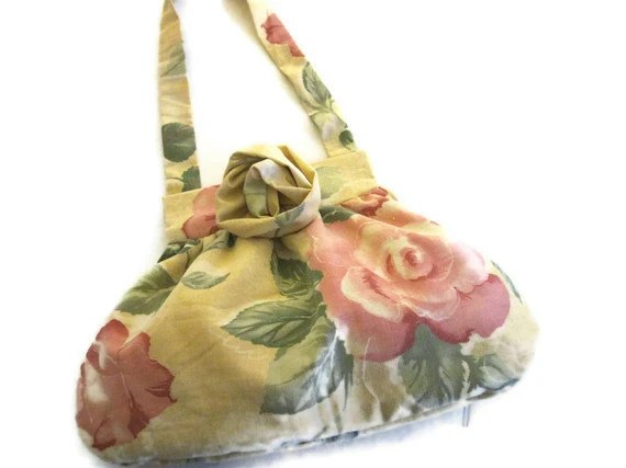 Yellow Floral Print Bag - BitsyBags