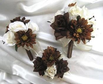 Wedding Bouquet Bridal Silk Flowers CREAM BROWN CHOCOLATE