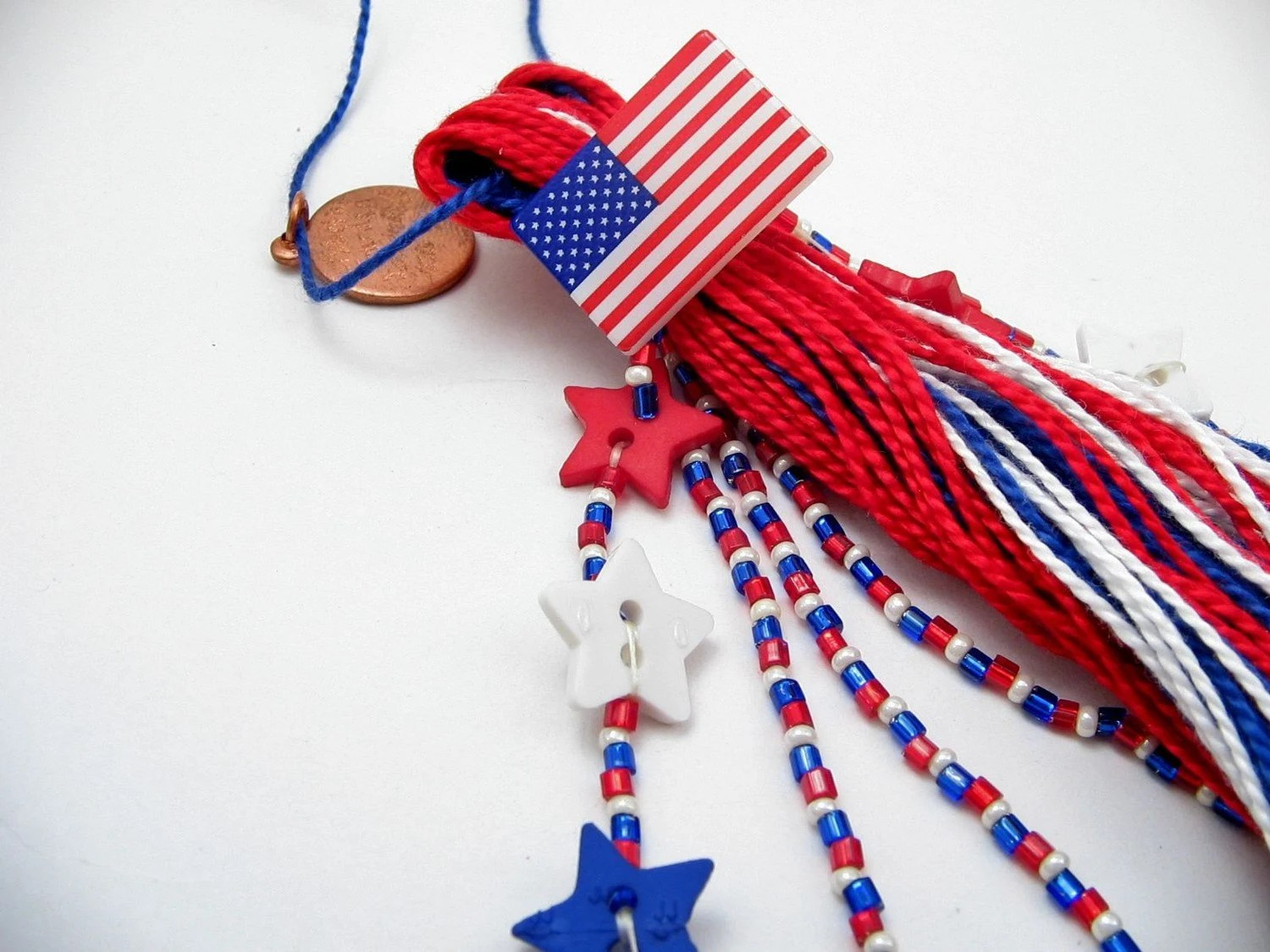 Americana Red White and Blue Beaded Patriotic USA Tassel - lizbethsgarden