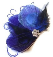 Peacock Feather Hair Clip BLUE BUTTERFLY Feather and Rhinestone Wedding Hair Fascinator Clip Bridal Party - maggpieseye