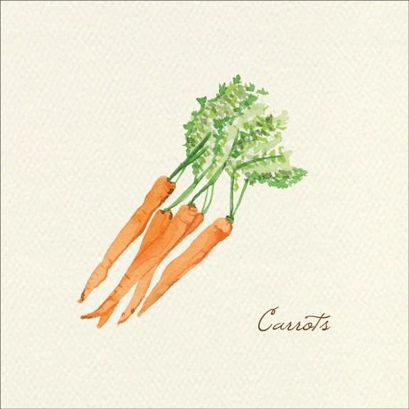 Watercolor Art Prints - Vegetables - Choose from 4 Designs - 5x5 - frecklepaper