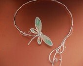 Dragonfly Tales Torc Necklace Jewelry Sterling Silver Fashion Renaissance Medieval Faery Magic - ElnaraNiall