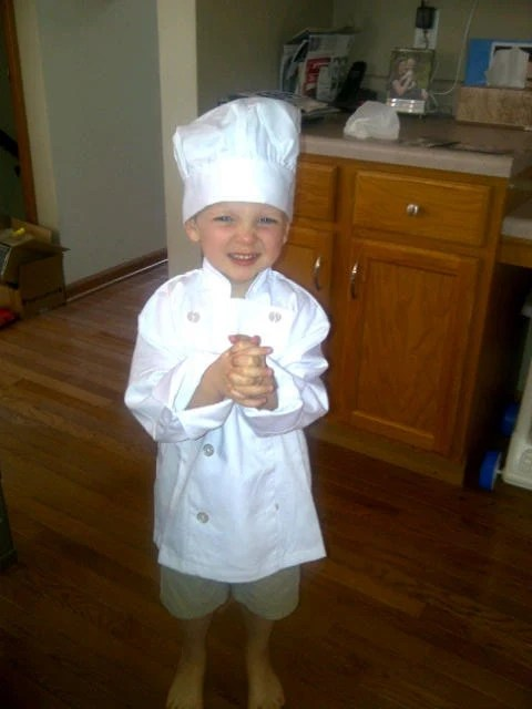 Personalized Chef Jacket Hat for Kitchen Use OR Pretend Play Costume - Child's Size Small Medium or Large - creativemama213