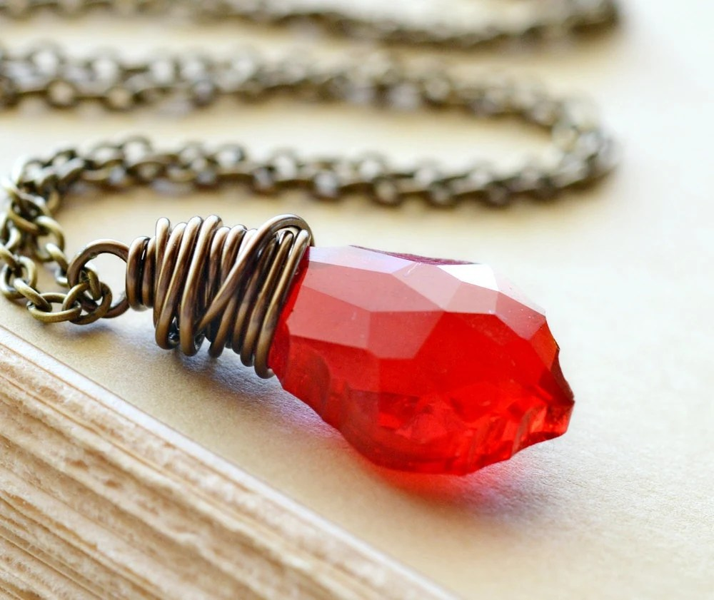 Red Crystal Necklace, Swarovski Baroque Pendant, Wire Wrapped, Antiqued Brass Jewelry - waterwaif