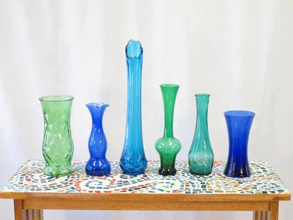 Vintage Colored Glass Vase Collection