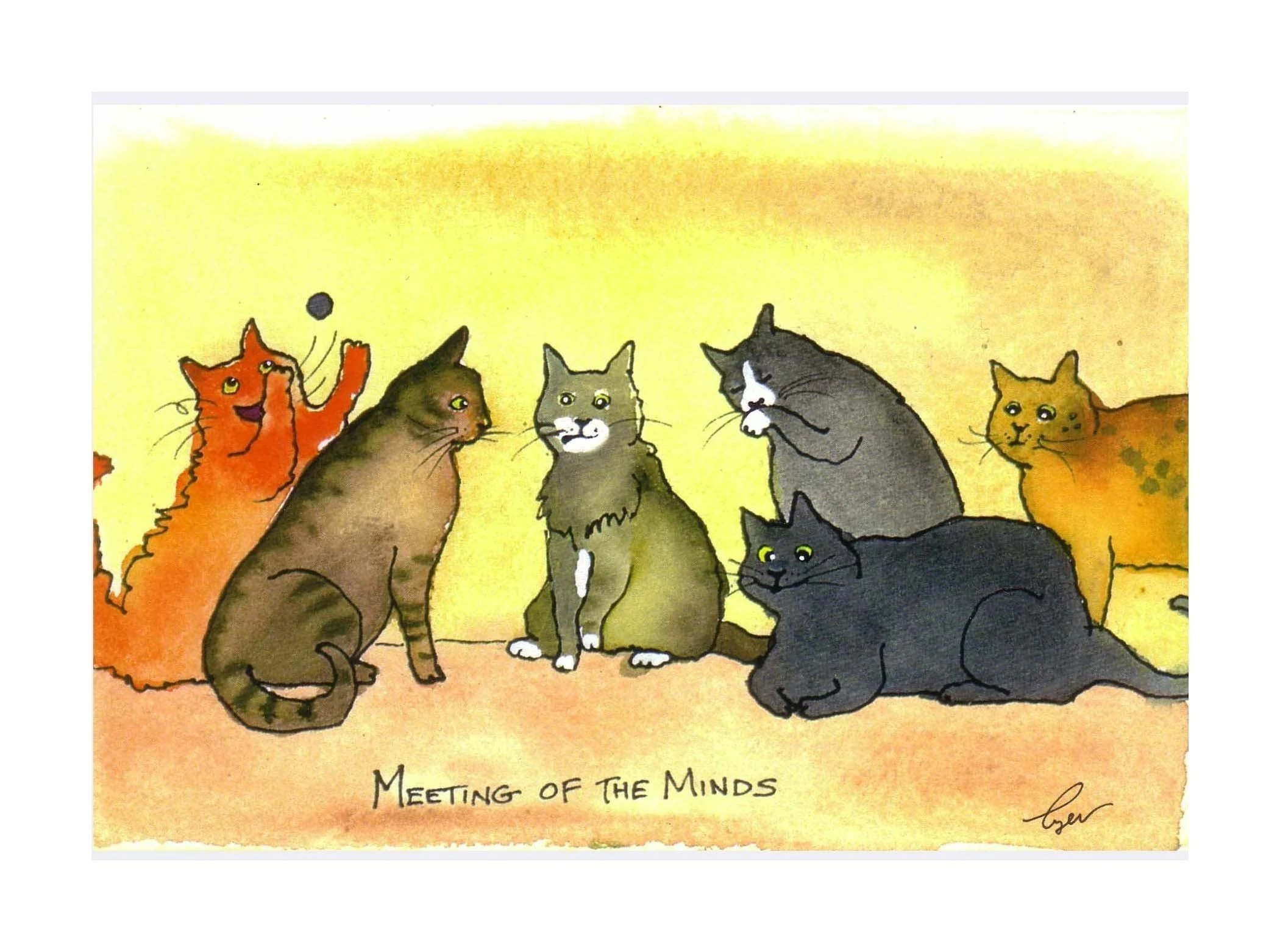 Funny Cat Watercolor Card Print Meeting Of The Minds