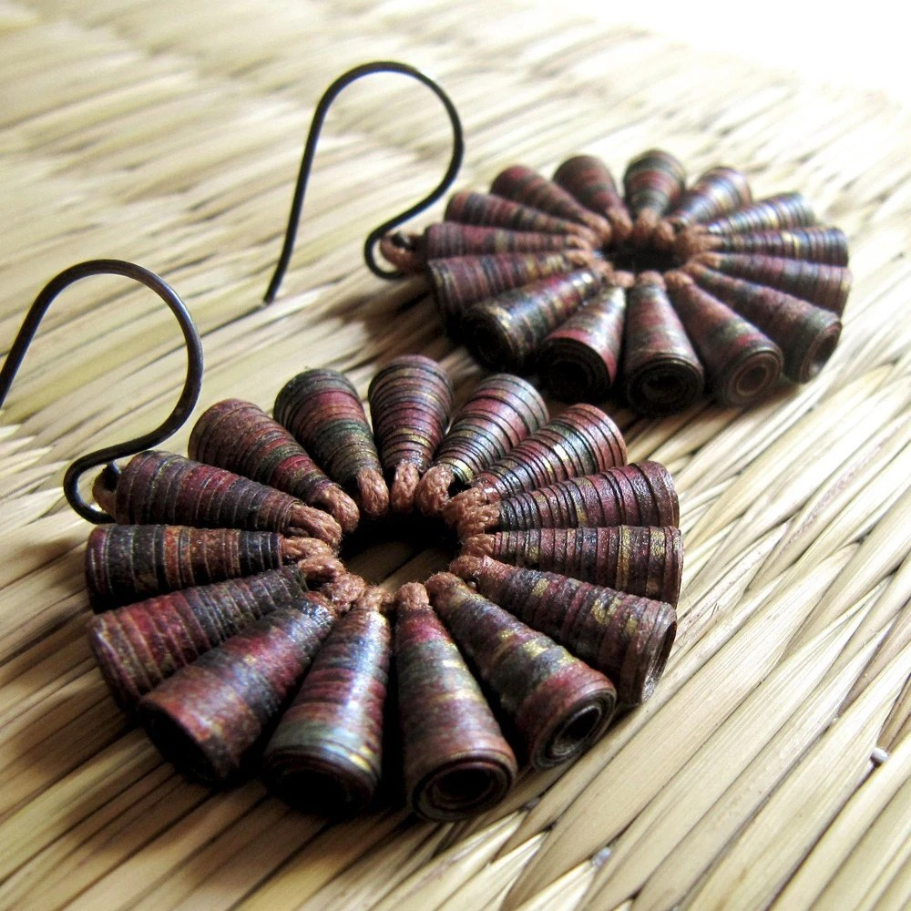 Rustic Treasure earrings - Paper jewelry - Tribal Jewelry - Paper Earrings - First anniversary gift - Earthy Jewelry - Indian Jewelry