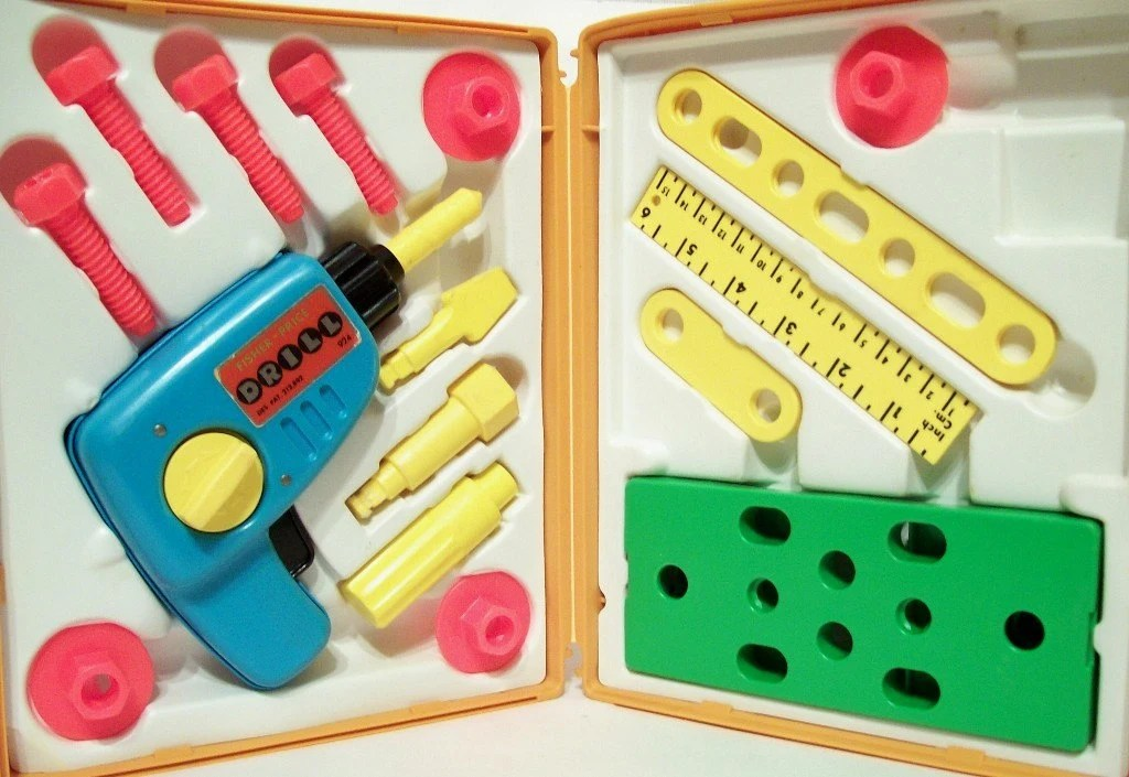 1977 Fisher Price Tool Kit No 924 With Carrying Case Wind Up
