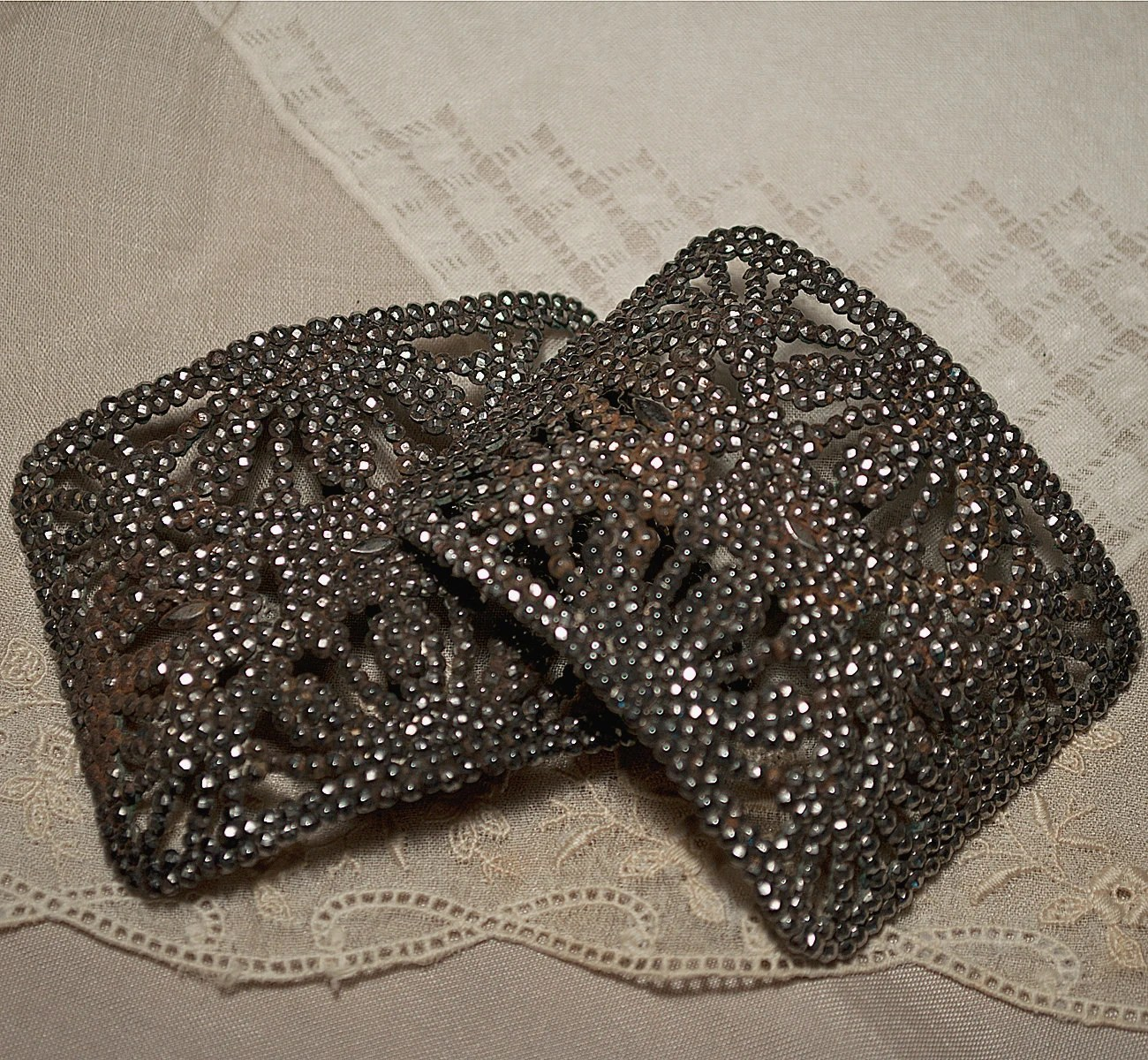 Antique French Steel Cut Shoe Buckles Pair
