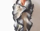 Felted scarf ruffle collar -  Grey white black - galafilc