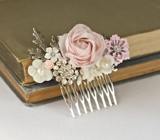 Bridal Hair Comb Shabby Chic Rose Hair Piece Silver Vintage