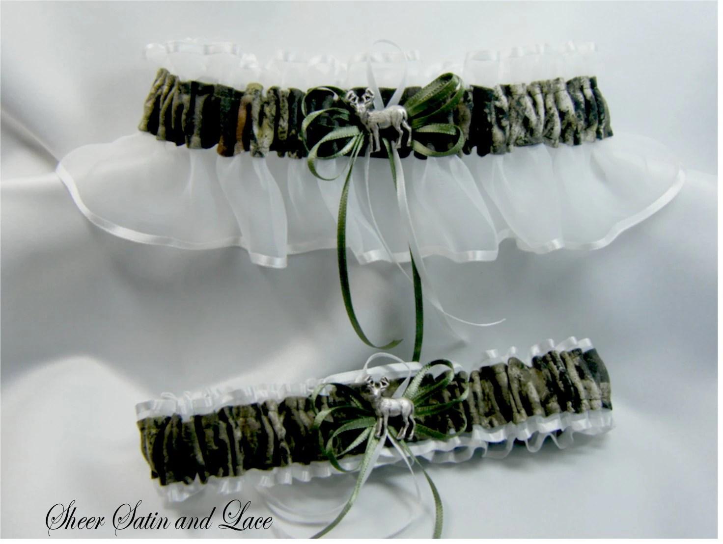 WHITE Mossy Oak Camouflage Wedding Garters By