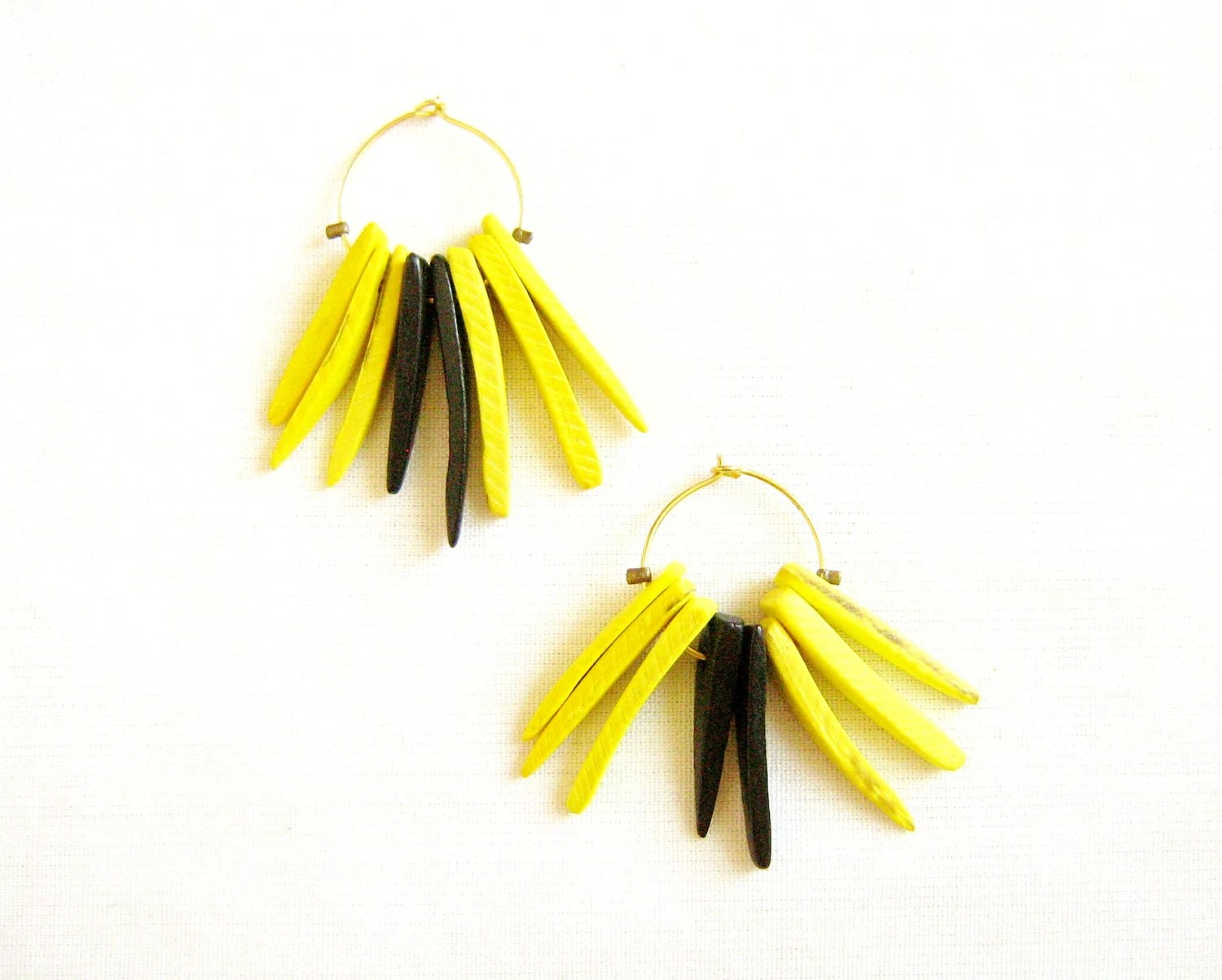 Spike  Earrings in Neon Yellow and Black, Salamander - Jungle Queen Collection,  Coco Tusk Tribal Spikes Handmade earrings - AlinaandT
