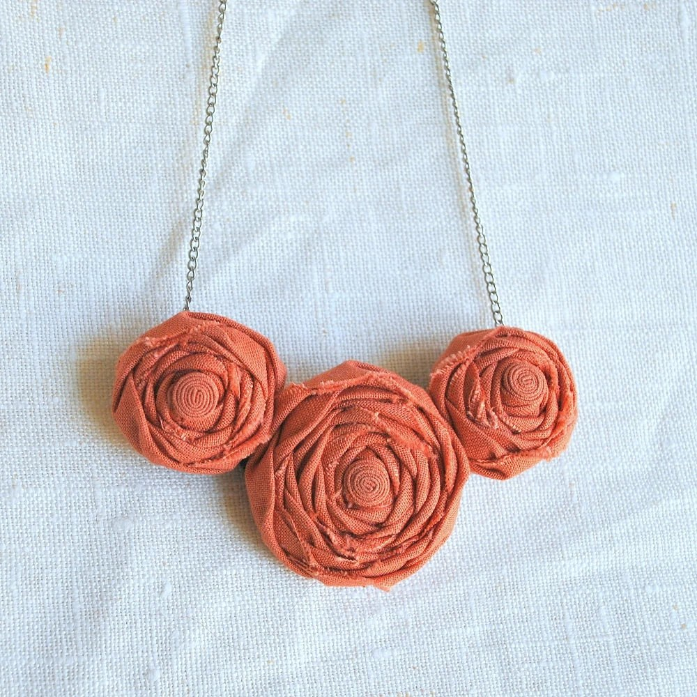 SALE Rosette Necklace - 3 Flowers - Choose Your Color - FoldingChairDesigns