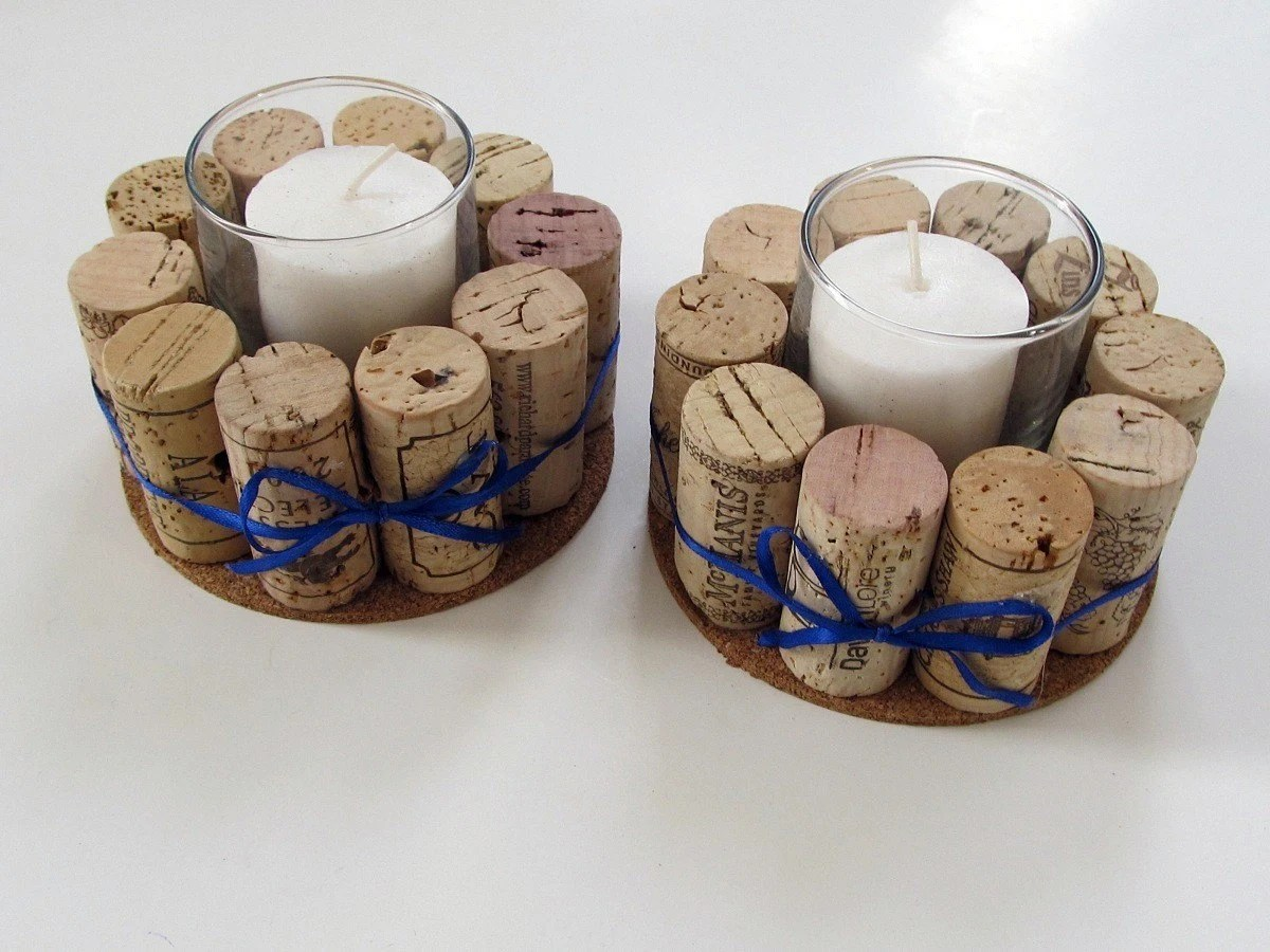 Wine Cork Votive Holders With Blue Ribbon-Set By