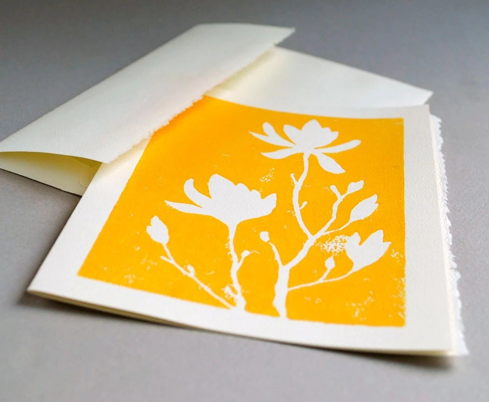 Magnolia Blank Notecard - Yellow Linocut Print - 5 x7 inches - CursiveArts