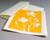 Magnolia Blank Notecard - Yellow Linocut Print - 5 x7 inches - CursiveArts