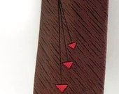 SILK Cool Vintage Atomic Red and Brown Geo 1950s Tie Mr. Pierre -on sale- - CharmedKitty