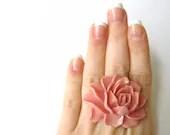 Soft Pink Flower Ring Beautiful Pale Pink Resin Elegant Pastel Pink Jewelry - SpotLightJewelry