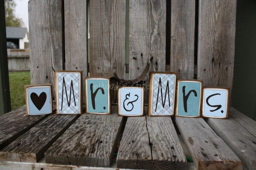 7 Piece Personalized Wedding MR And MRS Name Wood By