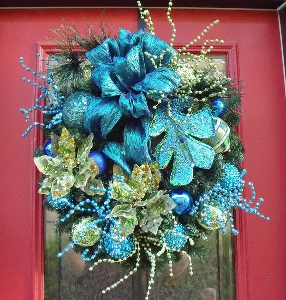 Christmas Wreath Teal Lime Royal Peacock Wreath By LuxeWreaths