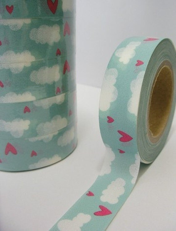 SALE Japanese Washi Masking Tape -  Red hearts in Clouds 10m