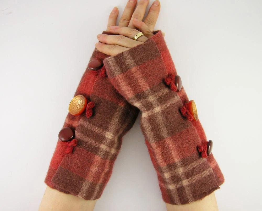 felted fingerless gloves wrists warmers eco friendly arm warmers fingerless mittens arm cuffs rusty orange brown plaid recycled wool - piabarile