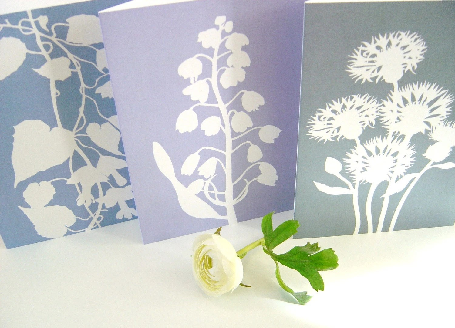 Botanical Papercut Greetings Cards (A5) - Set of Three in Blue