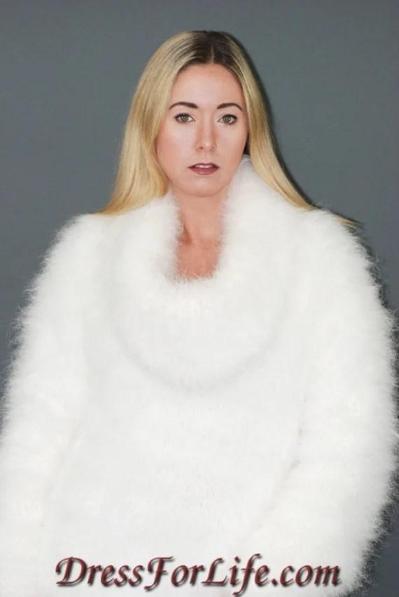 Custom Made to Order Pure Rabbit Angora Sweater Dress - dressforlife