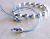 Knotted Pull Bracelet. Deep Sky Blue. Silver-Plated Beads. Silver Plated Pulls. - slipstreamblue