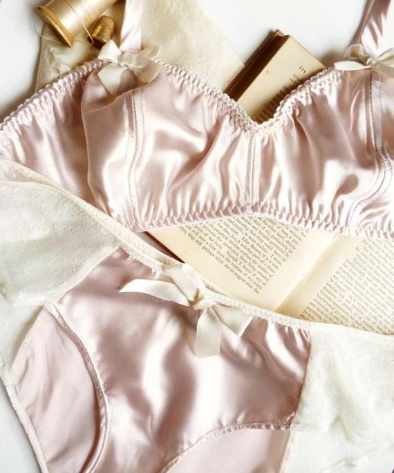 Ballet Pink Satin Soft Bra & Panties Set Made to Order