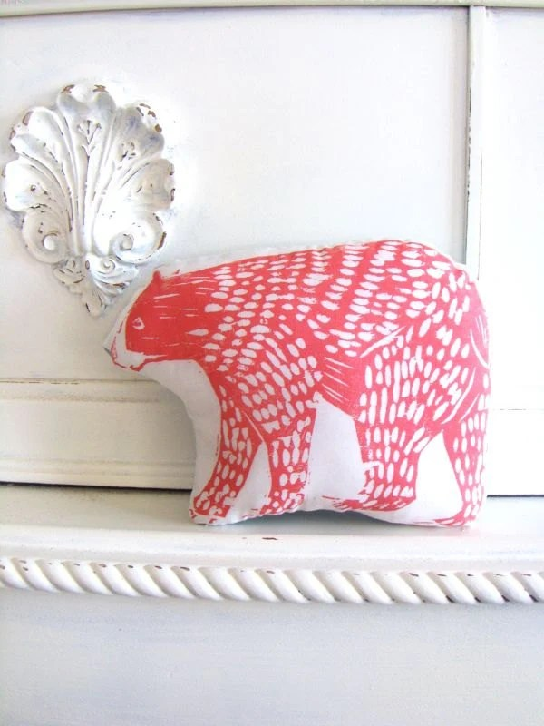 Plush Bear Pillow in Coral. Woodblock Printed. Customizable Colors.