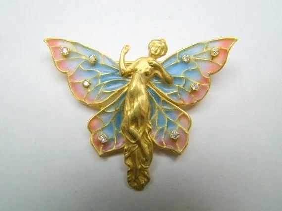 18K Gold equisite enamel wingled lady pin - Xidni
