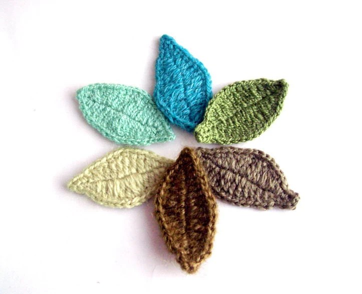 Crocheted applique Leaves 30 piece various colors of green - flowersofparadise