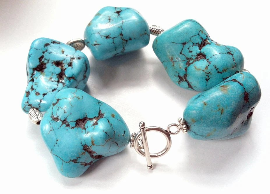 Large Bold Turquoise and Silver Plated Statement Bracelet - FiberBungalow