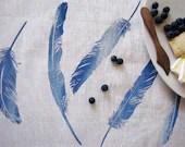 Floaty Feather Tea Towel - Sea Blue - ElkhornDesign