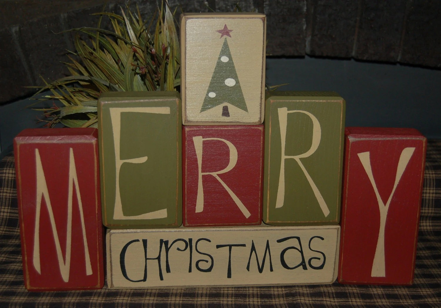 MERRY CHRISTMAS Tree Primitive Wood Sign By SimpleBlockSayings