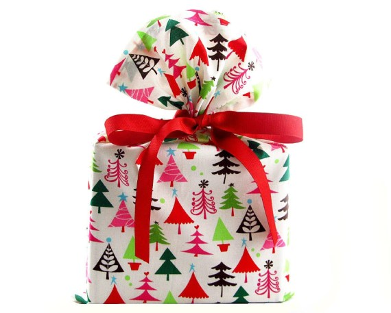 ON SALE -- Reusable Christmas Gift Bag with Multi-Colored Trees - VZWraps