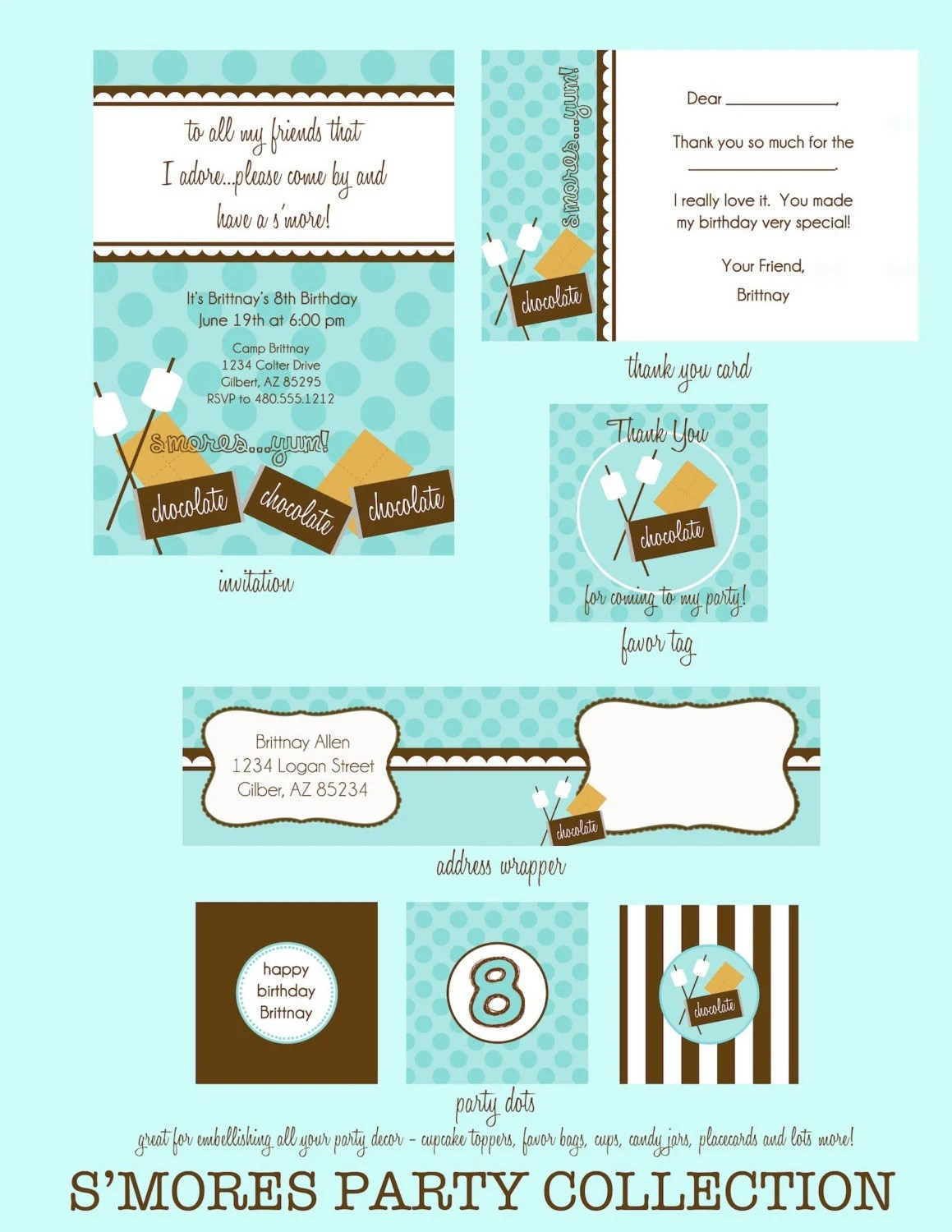 Printable Party Collection S Mores Party
