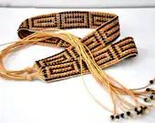 Beaded bohemian belt - tribal beach chic greek key design with tassels - Pamplepluie
