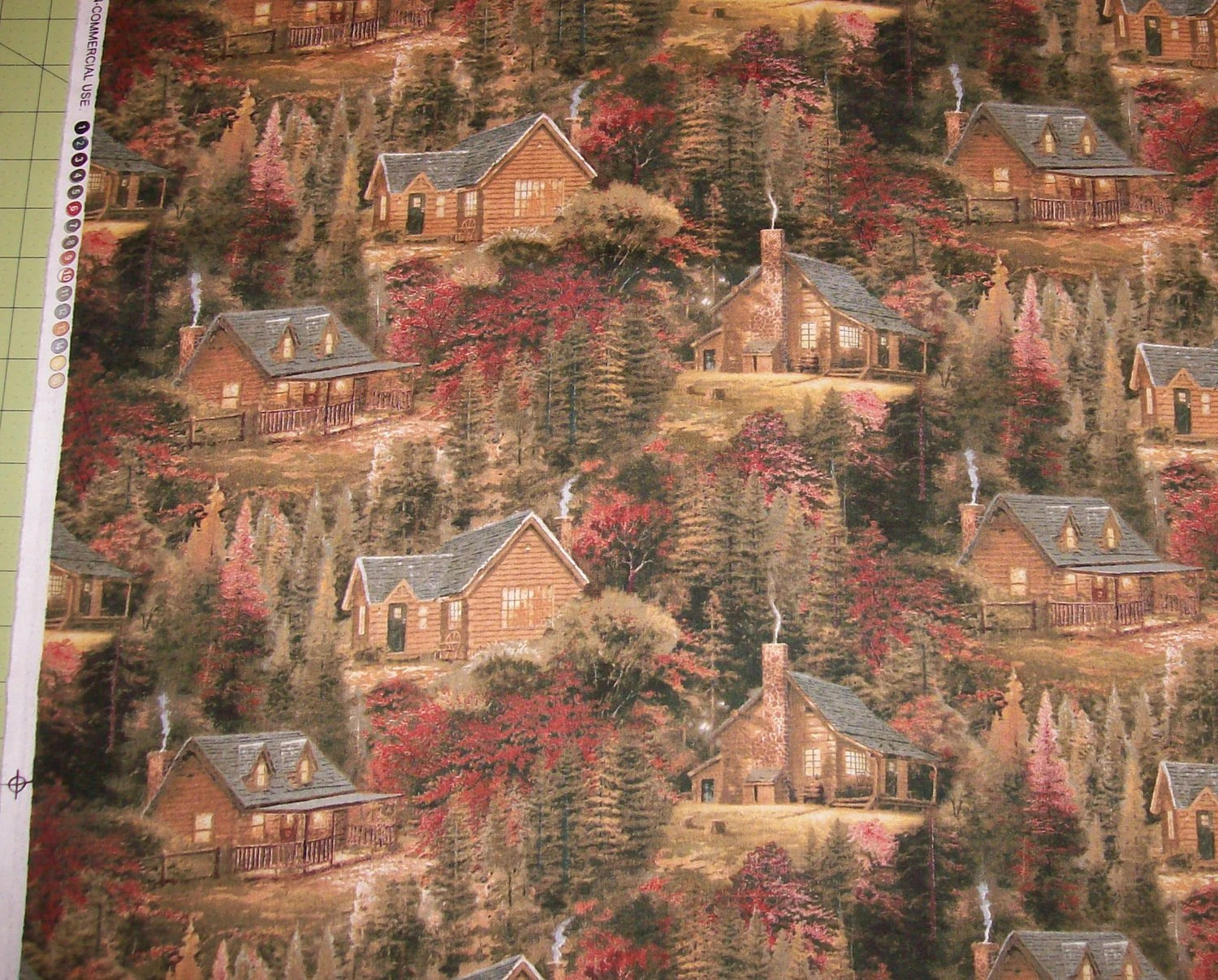 Gorgeous Thomas Kinkade Cabins In The Woods Fabric By The Yard