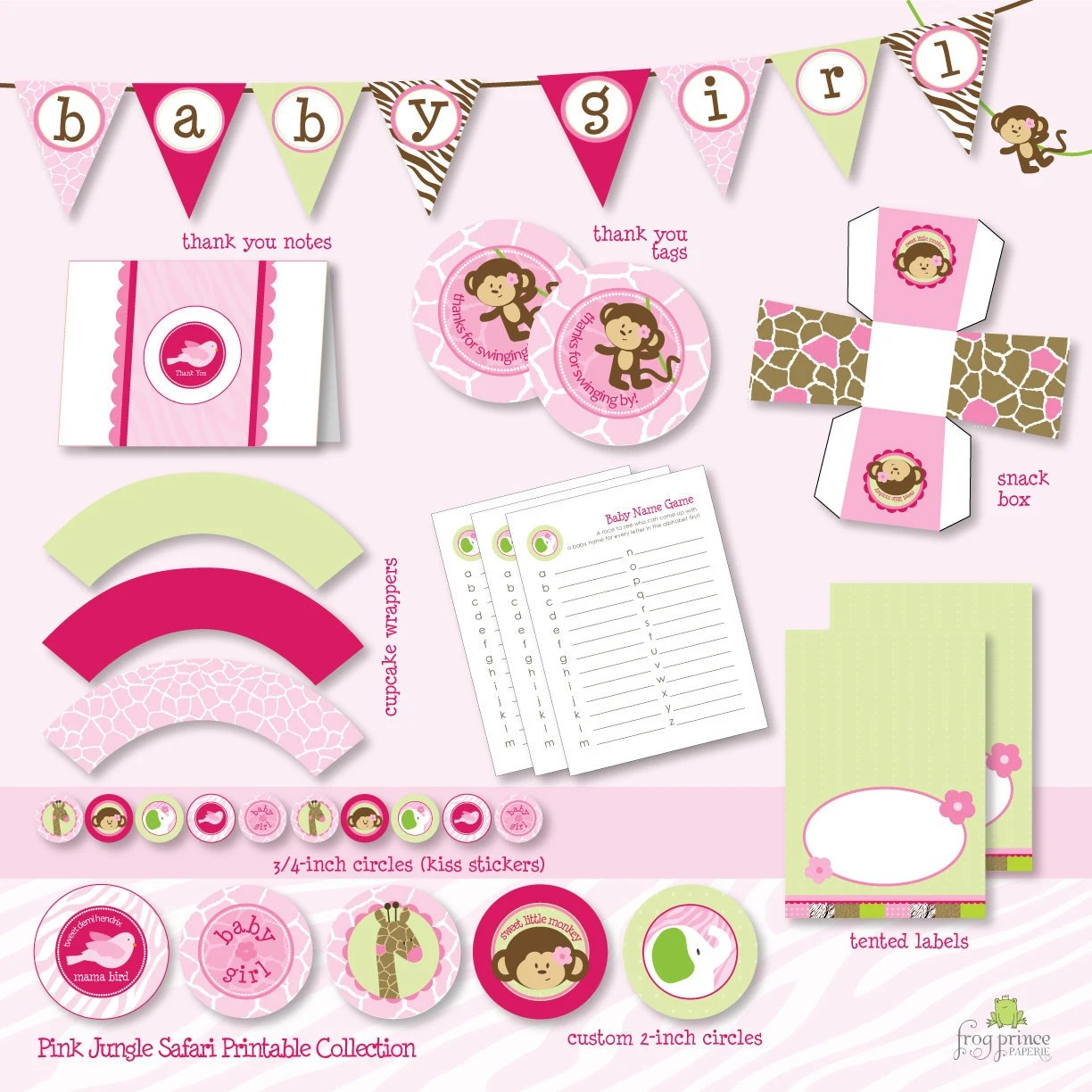 Pink Jungle Safari Baby Shower Custom Printable Party Pack